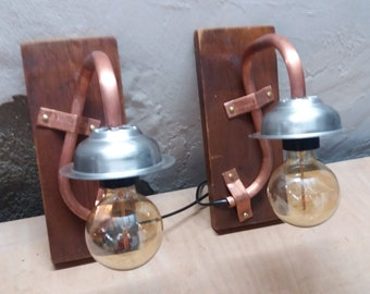 2 wall sconces from head of bed-lamp-wood rustic-tube copper-copper-stainless steel-model single