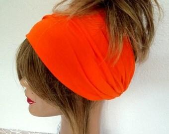 Orange Headband, Cotton Headband, Boho Scarf, Headband, Bandana Band, Yoga Band, Women's Accessories, Hair Wrap, !!! FREE SHIPPING !!!