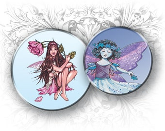 Night Fairies 1 Inch Circles Digital Collage Sheet Download and Print