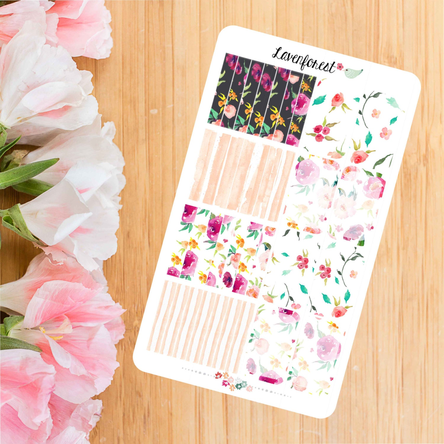 Floral half box stickers planner stickerswatercolor for Half page sticker labels
