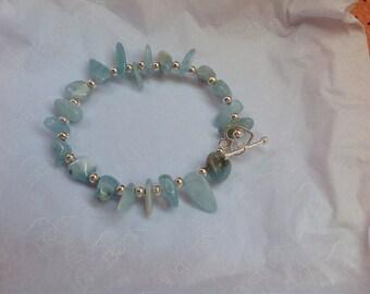 Aquamarine bracelet with toggle clasp