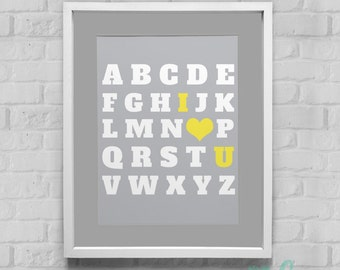 ABC I Love You Instant Download Wall Art 8x10/11x14