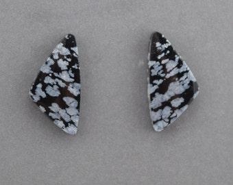 Snowflake Obsidian Cabochon Pair