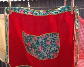 Red & floral apron