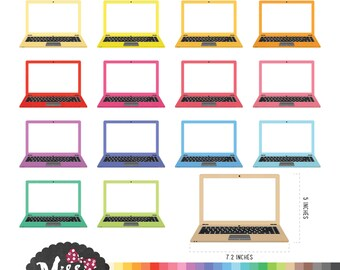 30 Colors Laptop Clipart - Instant Download