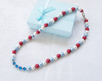 Patriotic Necklace- Swarovski® Crystals-Red,White,and Blue Beads-Sapphire Crystal-Bead Necklace-teen gift-womans gift- birthday gift
