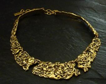 Adjustable necklace, pewter silver or Golden, homemade