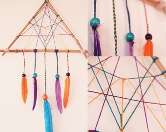 DreamCatcher - Catcher-dreams - Triangle graph bamboo orange and violet