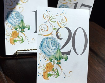 Gold Easels & 1-20 Double-Sided Table Numbers with Original Artwork/ Table Number Holder Gold/ Wedding Table Numbers