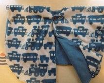 Double layer fleece car seat poncho *Trains*