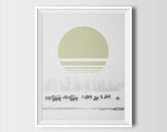 Bison art, bison print, printable, bison painting, woodland animals, snow, winter, minimalist art, woodland, animals of north america