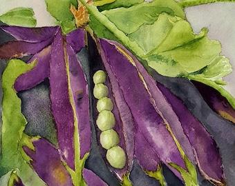 Purple Podded Peas blank greeting card