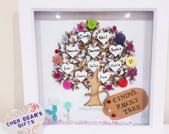 Family tree frame | Family tree gift | Personalised Keepsake | Mum gift | New home, Colourful wall art | wooden tree wedding gift, mum gift
