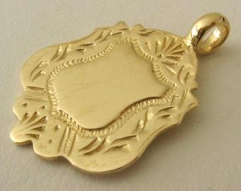 Genuine SOLID 9K 9ct YELLOW GOLD English Shield  Pendant