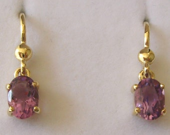 Genuine SOLID 9K 9ct YELLOW GOLD February Birthstone Amethyst Earrings