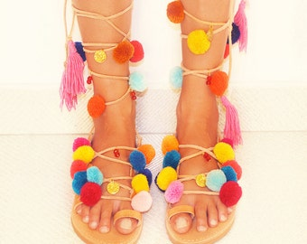 greek sandals pom pom sandals leather shoes gladiator sandals bohemian clothing boho hippie sandals greek summer sandals pom pom shoes