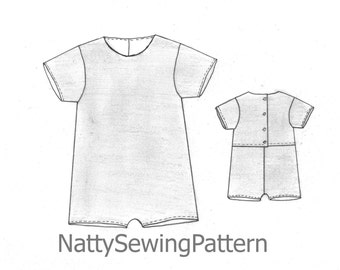 Toddler Jumpsuit Sewing Pattern,  Baby girls and boys romper, easy to make baby & toddler romper pattern sizes 0 mths to 2yrs.
