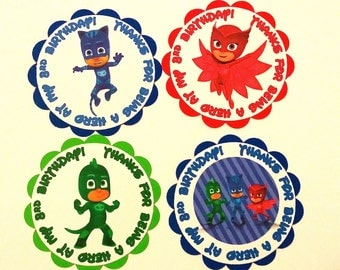 PJ Mask's Favor or Gift Tags