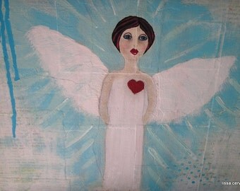 Angel...Mixed Media Collage, Acrylic Painting, 11 1/2 x 11 1/2 in. Recycled/Upcycled Canvas, Blues, Greens, Whites, Red, Original Art, Heart