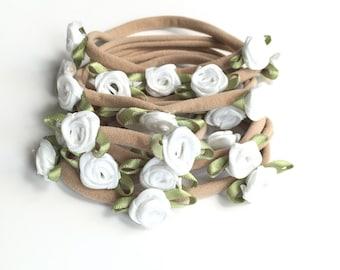 Mini flower newborn headband | Baptism Headband | Christening Headband