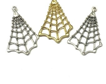 Spider Web Charm, Spider Web Pendant, Sterling Silver or Gold Plated on Sterling Silver Single Bail By Piece - 4171P