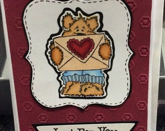 SALE (Buy 1 get 1 free) - Just for You Greeting Card with Gorgeous Bear holding Envelope with Love Heart