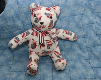 American flag stuff teddy bear with the flag in the shape of the united states