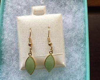 Green Sand Glass Dangle Earrings