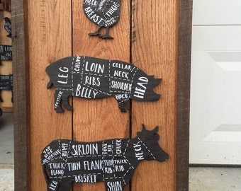 Reclaimed wood Butcher Cow, Pig, Chicken