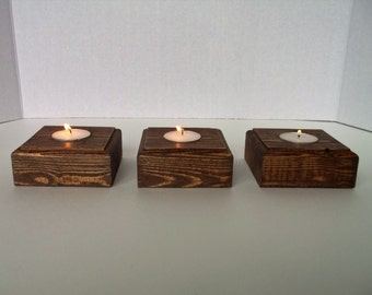 Wooden Block Candle Holders Set of 3