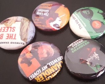 "5 Raymond Chandler 1"" Buttons/Pinbacks/Badges Novels Book Art Detective Pulp Fiction Rare Hard Boiled Literature Books New Rare"