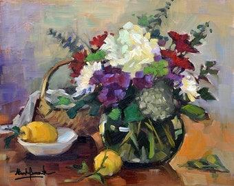 Garden Flowers and Lemon still-life