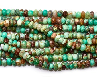 Chrysoprase Faceted Rondelle Beads