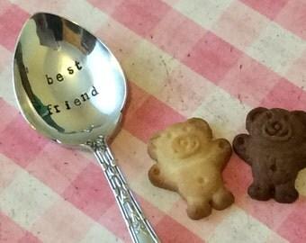 Best Friend Teaspoon, Hand Stamped, Vintage Cutlery, Silver-plate Cutlery