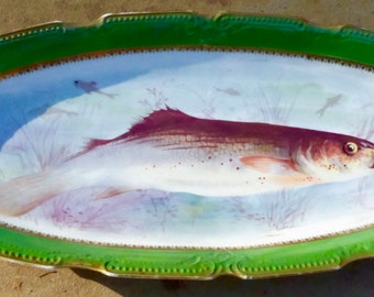 Hand-painted Limoges fish service marked for Lewis Straus & Son.