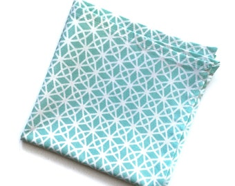 Mint Green and White Circle Pattern Pocket Square