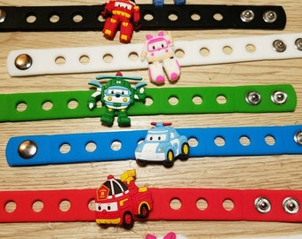 10  Robocar Poli Silicone Bracelets Party Favors