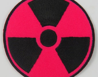 Nuclear Radiation Symbol/Sign (Pink) Iron On/ Sew On Cloth Patch Badge Appliqué nuke cybergoth cyber punk goth rocker emo rave Size: 6.8cm