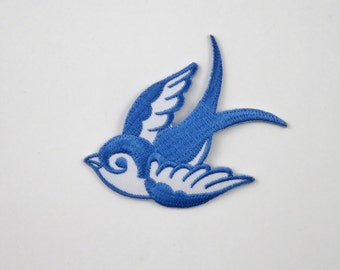 Swallow (Blue, Right) Iron On/ Sew On Embroidered Cloth Patch Badge Appliqué hot fix stitch bird UK SELLER Size: 7cm x 6.1cm