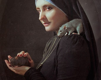 Creepy Nun portrait - Large size digital print - Artistic photography poster - Horror Macabre art