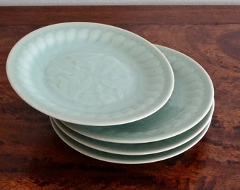 2- Chinese Longquan Celadon Koi Goldfish Porcelain Salad/Sushi Plates