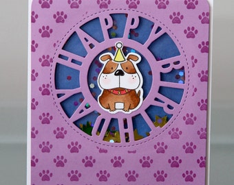Purple Puppy Shaker Card