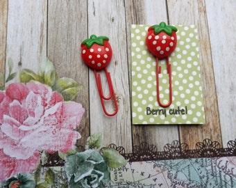 Strawberry Paper Clip, Planner Clip, Planner Accessories, Paper Clip, Resin Paper Clip,