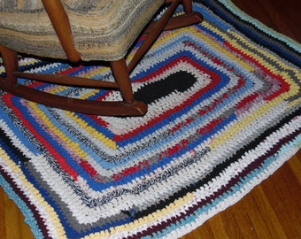 Handmade T-shirt Rug-Large-39 x 48 inches- Floor Rug- Boho Style- Multi color- Up Cycled Rug