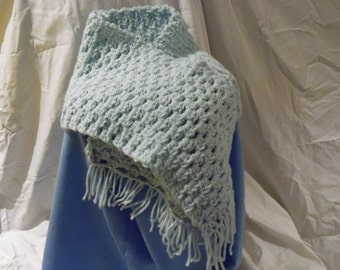 Soft Mint Green Scarf- handmade- crocheted