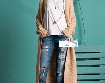 Woman Long Knitting Cardigan
