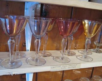 Vintage Carnival Glass Stemware Set (8 PC)