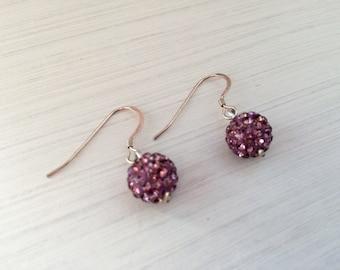 Purple Shamballa Earrings with Sterling Silver Earing Hooks
