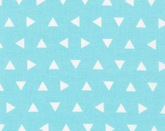 """BTHY - Remix by Ann Kelle for Robert Kaufman, Pattern #15239-70 Tossed Triangles in Aqua, Each White triangle is .375"""" x .375"""", 5 Yards"""