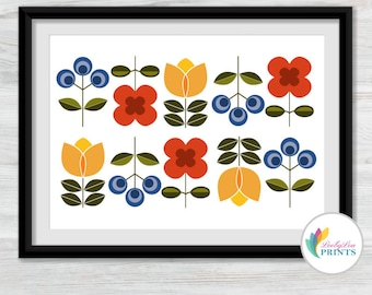 Scandinavian Style Flowers Print (landscape) - Mid-Century Design Print for Kitchen, Lounge, Hall or Office, Scandi Print, Retro Print
